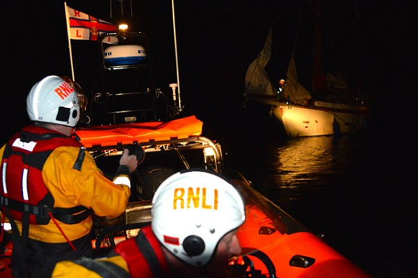 American sailors in the 40ft yacht Nora rescued after running aground in county Antrim. Credit: RNLI/Red Bay