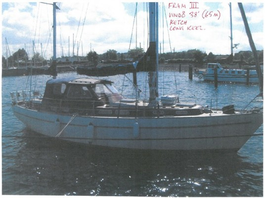 The 38ft Vindo long keel ketch, called Fram III, that was stolen from Holyhead Marina