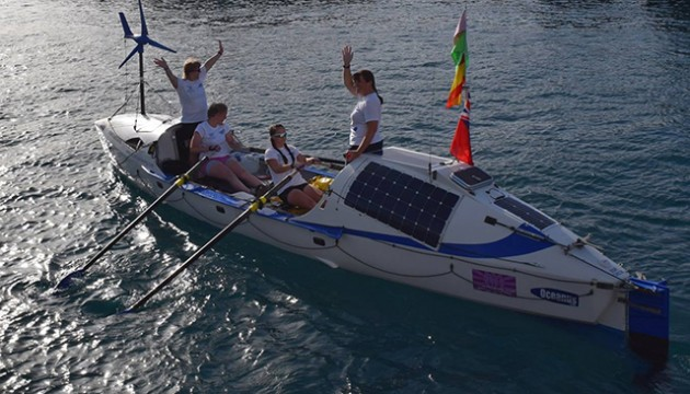 The Fire Ant rowing crew setting off from Gran Canaria. Credit: Oceanus Rowing