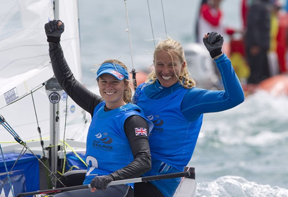 Olympic silver medallists Hannah Mills and Saskia Clark. Credit OnEdition