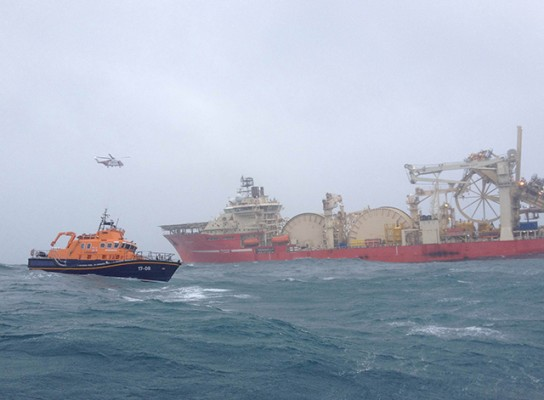 Rescue operation involving Barra and Islay lifeboats at Skerryvore. Credit: RNLI/Barra