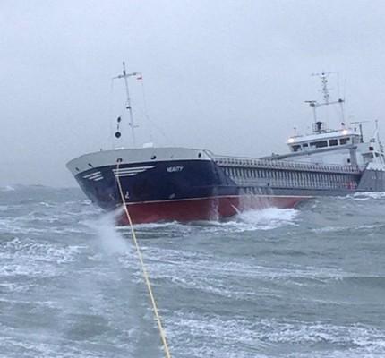 The stricken cargo ship Verity under tow. Credit: RNLI/Alan Hoskin