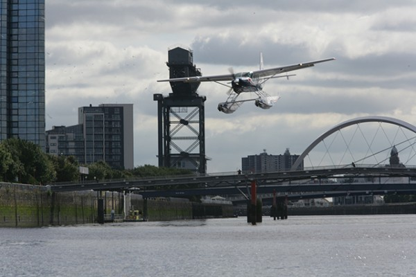 Loch Lomond Seaplanes' first city centre seaplane service launches from the River Clyde, Glasgow. Credit: Ashley Coombes/Epic Scotland