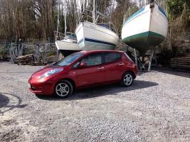 A Nissan Leaf electric vehicle at Deacons Marina near Bursledon on the Hambles