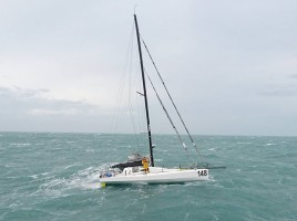 Solo French yachtsman rescued off the Isles of Scilly. Credit St Mary's Lifeboat