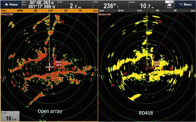 The final picture compares open array to RD418. We noted the returns from the Needles area were not as good on the RD418 compared to Quantum. Unfortunately, we grabbed a 12-mile shot rather than a 6 and 24 (the weather was beginning to make itself known!), but it's good enough to show that although the beam width is specified at 4.9° for both Quantum and RD418, the view to the 12 o'clock up Southampton Water shows Quantum to be giving better performance, presumably due to some beam sharpening in the processing.
