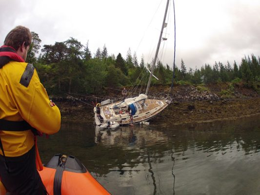 May Dream aground in Plockton. Credit: RNLI/Andrew Macdonald
