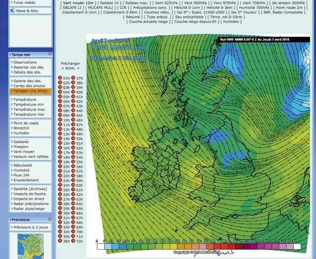 Sailing weather apps and websites practical boat owner this french website also available as an ios and android app gives a real time wind map as well as useful wrf based wind maps click on valeurs vent gumiabroncs Choice Image