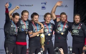 Land Rover BAR podium in 1st place at Portsmouth America's Cup World Series Event. Credit: Lloyd Images