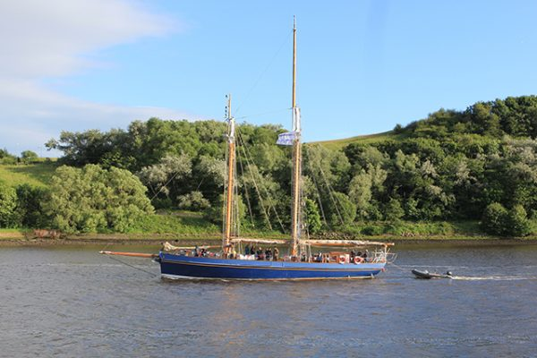 The Spirit of Falmouth approaching Newcastle on the River Tyne on the Round Britain Challenge
