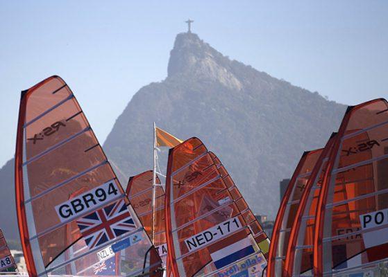 RS:X racing at the Aquece Rio Test Event for 2016 Olympics, Rio de Janeiro, Brazil. © Rachel Jaspersen/British Sailing Team