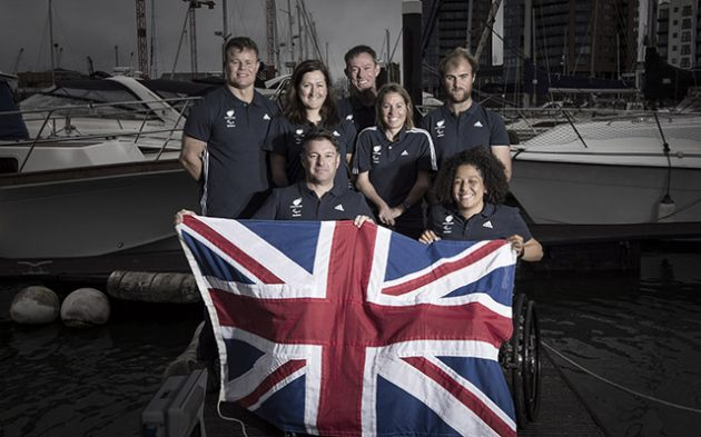 Britain's Paralympic sailing contenders with RYA Olympic and Paralympic manager Stephen Park. Credit: onEdition 2016