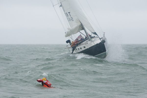 ... before heading up and tacking. Now she's hove to but still moving forwards, heading back towards Fred