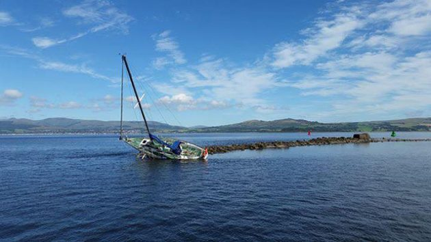 The grounded yacht at Greenock. Credit: Craig Scholte