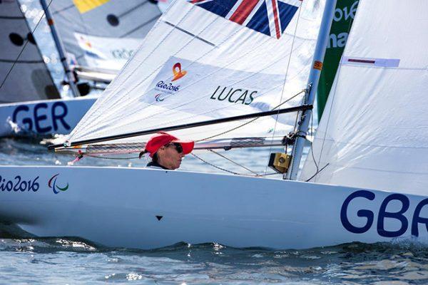 Helena Lucas racing at the Rio 2016 Paralympic Games. Credit Richard Langdon/World Sailing