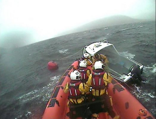 Kyle of Lochalsh RNLI crew assist man trapped onboard a small boat in Glenelg due to very high winds and large swell