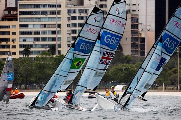 The Skud-18 duo Alex Rickham and Niki Birrell win bronze in the Rio Paralympic Games. Credit: Richard Langdon/World Sailing