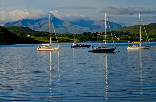 The Cuilin mountains viewed from Portree. Credit: Richard Smith