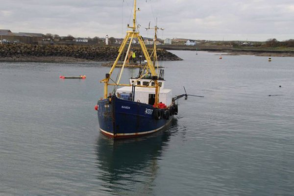 Karen returning to Ardglass – damage evident on port side. Image courtesy of Ross Boats Ltd