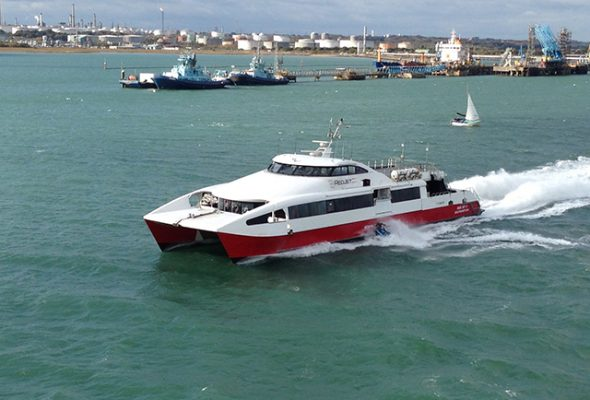 Red Jet ferry in collision with jet-ski. Credit: Richard Bache