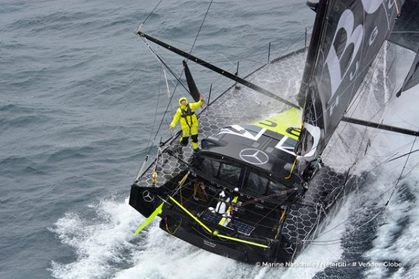Aerial shot of Vendee Globe yacht Hugo Boss, skippered by Alex Thomson, off the Kerguelen Islands. Credit: Marine Nationale/Nefertiti/Vendee Globe