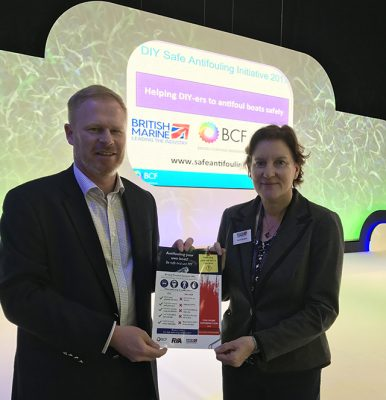 Trevor Fielding, the BCF's regulatory affairs manager, and Sarah Dhanda, British Marine's chief officer of membership & services, at the launch of the DIY Safe Antifouling Initiative