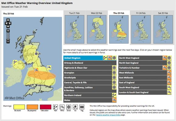 Met Office Storm Doris weather warning