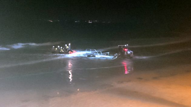 Night-time recovery following rescue of man at high tide. Credit: RNLI/Emma Tarling