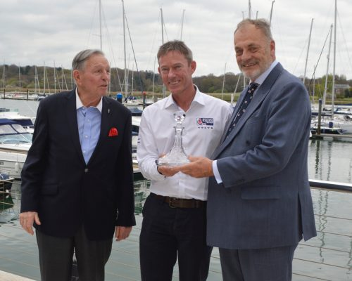 Stephen 'Sparky' Park is presented with a boats.com/YJA Special Award for services to the sport of sailing at the Royal Southern Yacht Club Hamble this week. The award was presented by Barry Pickthall, Chairman of the Yachting Journalists' Association (right) and former Chairman Bob Fisher. Credit: www.pplmedia.com