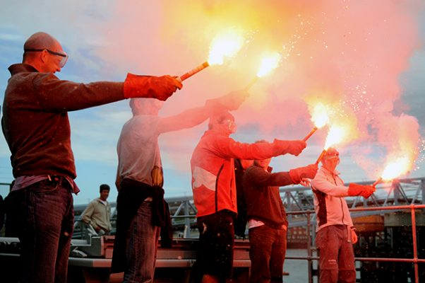 Flares in use during survival training. Credit: Dave Kneale/Volvo Ocean Race