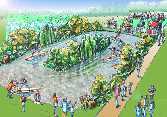 An artist impression of the Southampton Boat Show Paddle River Experience