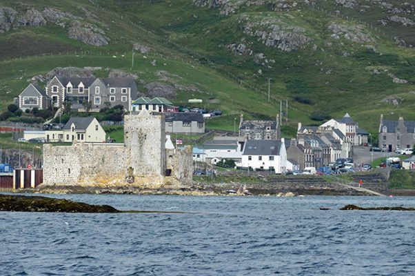Castlebay village with Kisimul Castle in the foreground