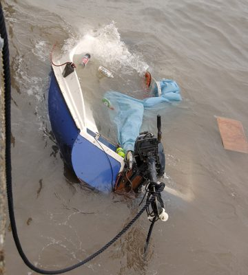 The wrecked Don't Panic yacht. Credit: RNLI/Dave Barry