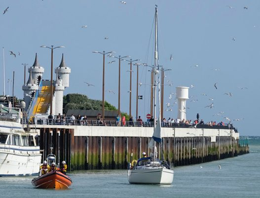 The stricken yacht was towed to Littlehampton harbour. Credit: RNLI/Richard Ball