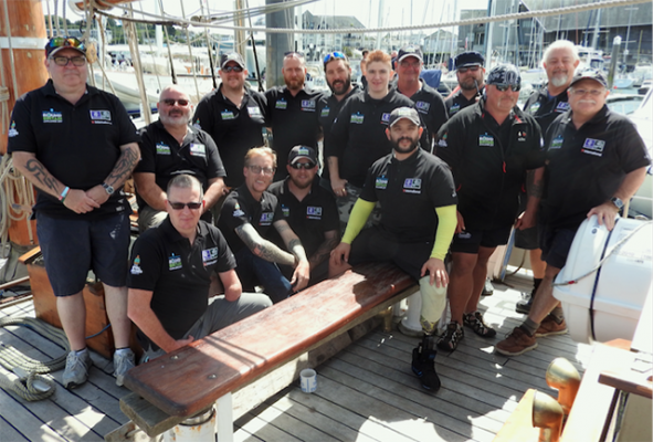 Crew of the tall ship, Spirit of Falmouth who took part in the Turn to Starboard Round Britain challenge