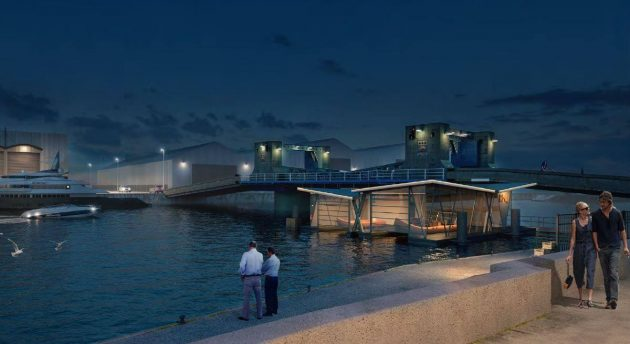 A drawing of the new Poole RNLI floating boat house at night