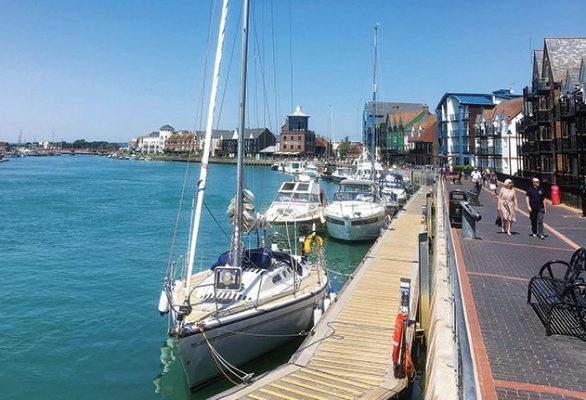 For visitors a long pontoon is located below the Littlehampton Harbour Board building, rafting-up during busy times