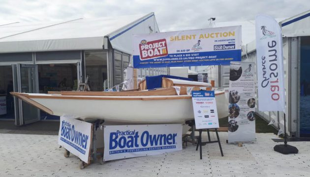 PBO Project Boat at Southampton Boat Show. Visitors, many of them PBO readers, came to see the Secret 20 Harvey being built by the staff and students at youth development charity Oarsome Chance