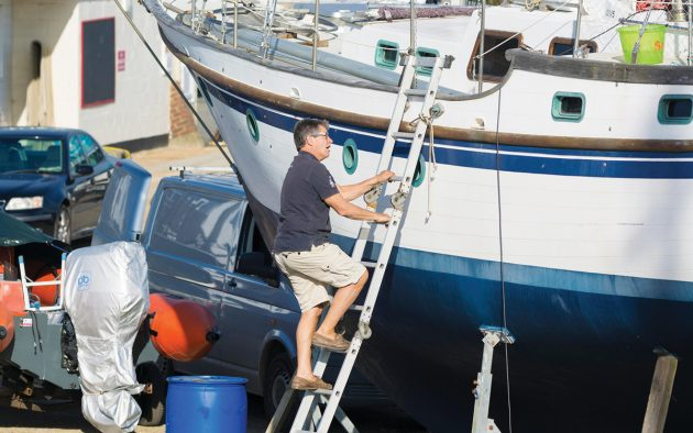 A boat out of the water provides easy access, but it will be difficult to check how the engine runs. Photo: Geoff Smith / Alamy