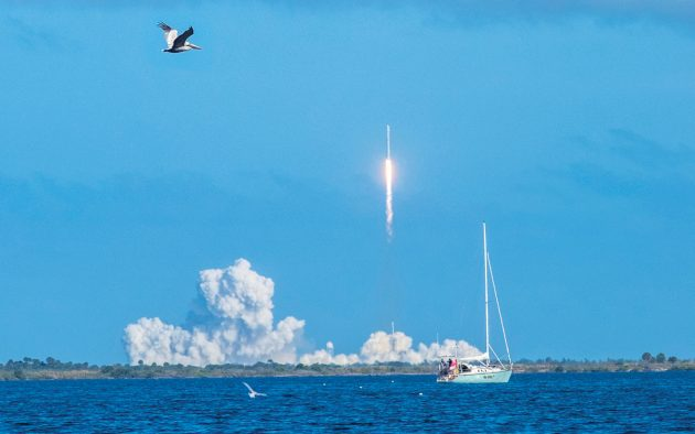 Talk about putting your faith in technology! Cape Canaveral on the Atlantic coast adjacent to the busy city of Orlando in Florida is still a busy space port. This is a recent Space-X launch. Photo: Danita Delimont / Alamy