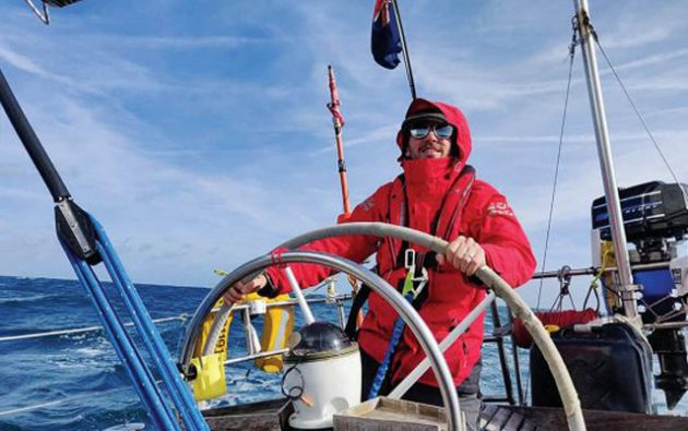 One of three crew at the wheel for 60 hours straight across Biscay in late October