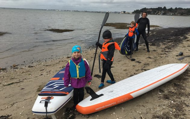 Getting ready for a winter paddleboard in Poole harbour