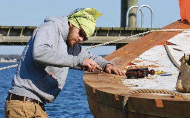 Restoration of the Skipjack Caleb W Jones at the Chesapeake Bay Maritime Museum in St Michael's, Maryland USA