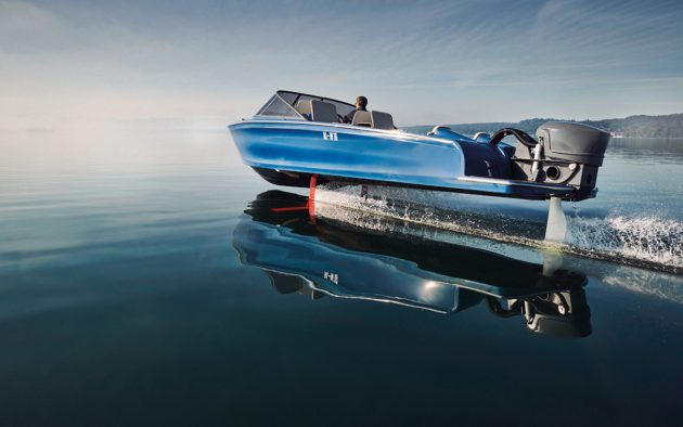 The Swedish designed Candela can reach a top speed of 30 knots thanks to its Torqeedo motor and retractable foils