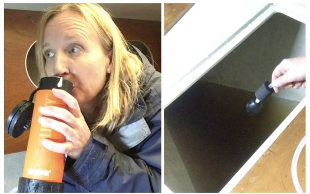 Ali tests the Liberty Lifesaver filtration bottle by drinking the locker water