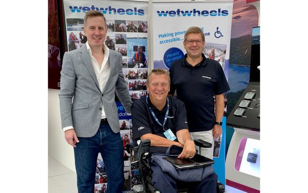 Wetwheels founder and pioneering disabled yachtsman Geoff Holt MBE DL, with Wetwheels Chief Executive Neil Wilson, left, and Trustee Paul Strzelecki.