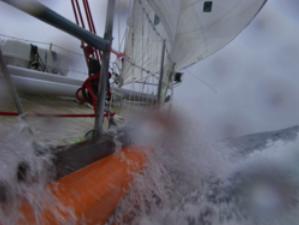 Clipper boat in heavy seas