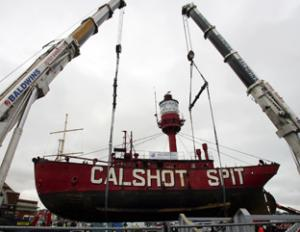 Calshot Spit Lightship ocean village lift out