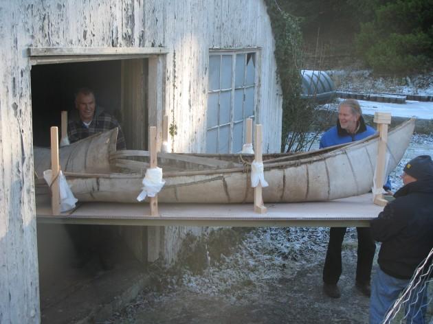Native American birch bark canoe