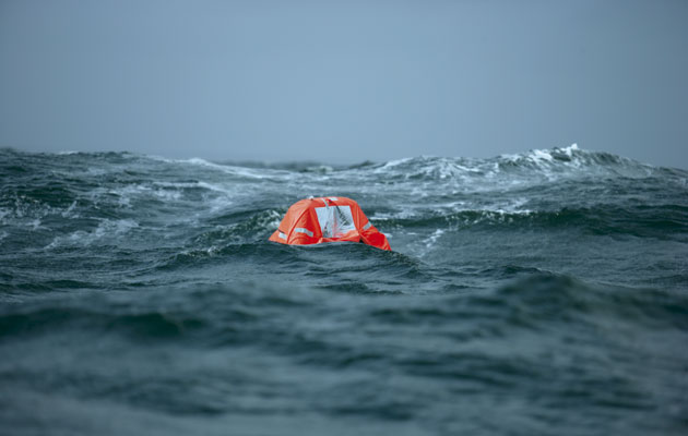 Life in a liferaft, during a F6 in the Bay of Biscay